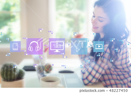 E-Learning with young woman 48227450