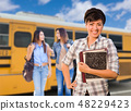 Young Mixed Race Female Students Near School Bus 48229423