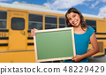Hispanic Student Girl with Blank Chalkboard by Bus 48229429