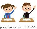 流行風格學生服裝男女上半身舉手 48230779