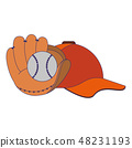 baseball glove ball and hat 48231193