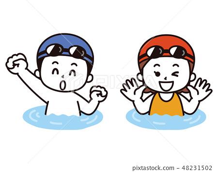 Illustration of a boy swimming holding a beat... - Stock Illustration  [53183201] - PIXTA