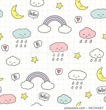 Cute cloud star sky cartoon seamless pattern 48234487