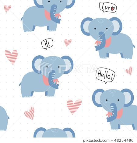 Cute kawaii elephant cartoon seamless pattern 48234490