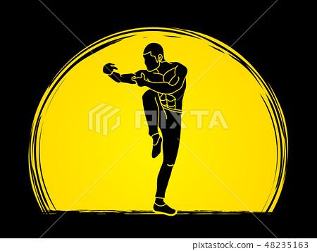 Drunken Kung fu pose graphic vector 48235163