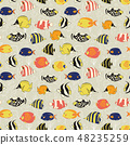 Seamless vector fish pattern Tropical reef 48235259