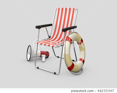 Lifeguard chair with Lifebuoy and megaphone,isolated on gray background 48235347