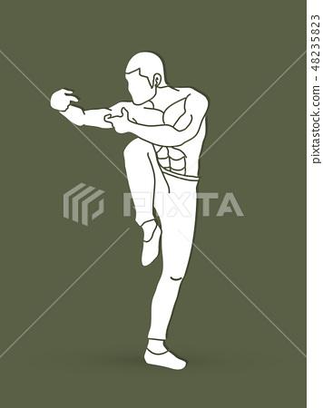 Drunken Kung fu pose graphic vector 48235823