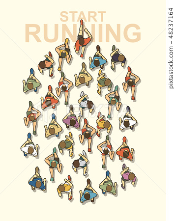 People start running top view graphic vector 48237164
