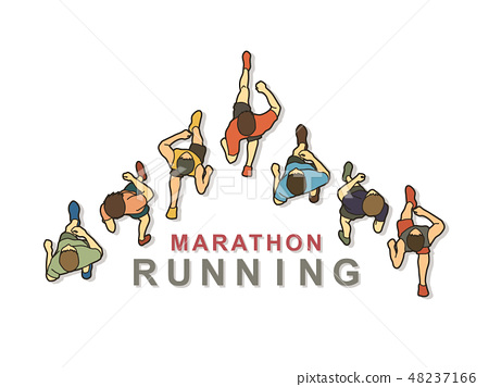 People running top view with text graphic vector 48237166