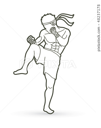 Muay Thai, Thai Boxing action graphic vector 48237178
