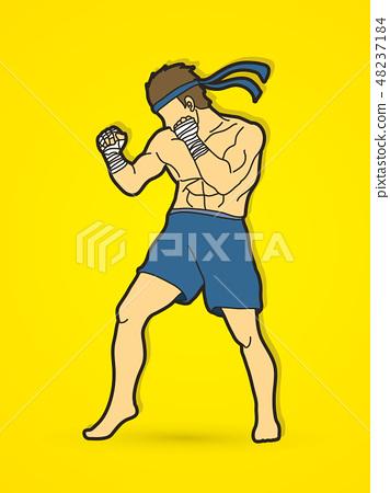 Muay Thai, Thai Boxing standing graphic vector 48237184