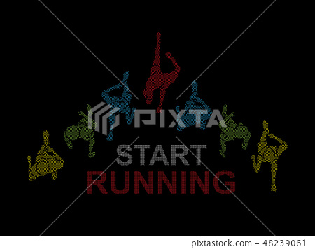 People running top view with text vector 48239061