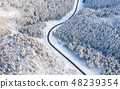 Aerial view on the road and forest at the winter 48239354