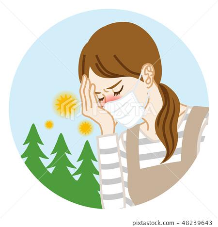 戴著面具的主婦遭受花粉症 - 圓剪貼美術 48239643