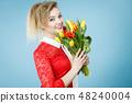 woman, tulips, bouquet 48240004