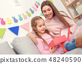 Mother and daughter together at home celebration concept sitting girl looking inside gift box 48240590