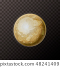 Realistic Pluto planet with texture on transparent background 48241409