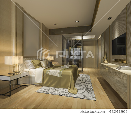 bedroom suite in hotel with wardrobe and closet 48241903