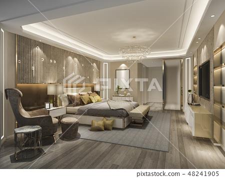 luxury bedroom suite in hotel with tv 48241905