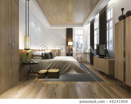 wood minimal style bedroom  48241909