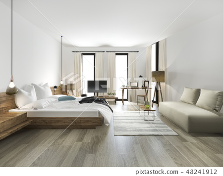 wood minimal style bedroom  48241912