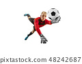 One soccer player goalkeeper man catching ball 48242687
