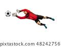 One soccer player goalkeeper man catching ball 48242756