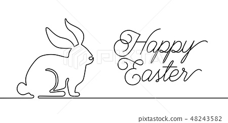 Happy Easter bunny greeting card in simple one line style with text celebration word sign. Rabbit 48243582