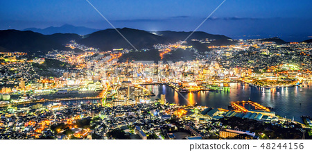 長崎城堡城K山世界三大夜景稻佐山鏡頭眩光全景長崎 48244156