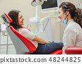A patient is a young woman at a dentist's appointment. During this time he sits in a dental chair 48244825