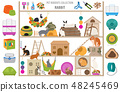 Pet rodents home accessories icon set flat style 48245469