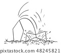 Cartoon of Man or Businessman Hiding Head in Sand or Under Ground 48245821