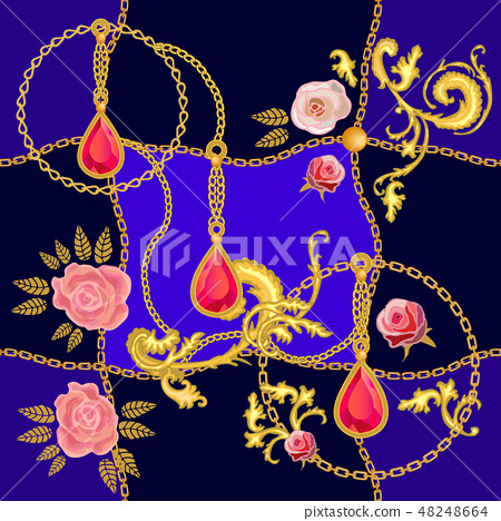 Silk scarf with rich baroque motifs. 48248664