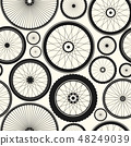 Bicycle wheel seamless pattern. Bike rubber mountain tyre, valve. Fitness cycle, mtb, mountainbike 48249039