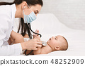 Pediatrician examining lungs of baby with stethoscope 48252909