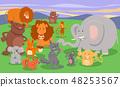 cartoon wild animal characters group 48253567