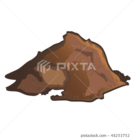 A pile of brown substrate isolated on white background. Vector cartoon close-up illustration. 48253752