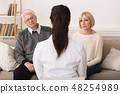 Doctor talking to senior couple at home 48254989