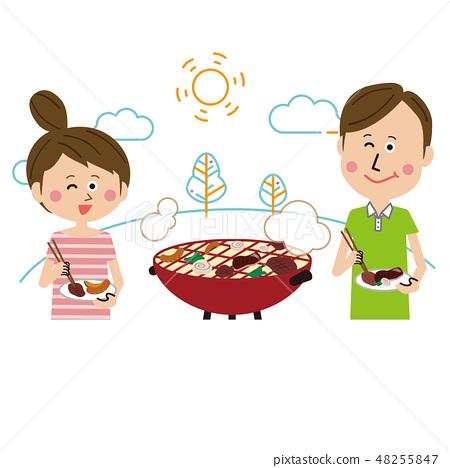 流行夫婦樂趣烤肉線描背景 48255847