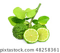 whole and half bergamot with leaf isolated  48258361