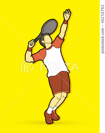 Man tennis player action graphic vector. 48258762