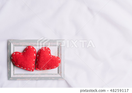 Valentines Day and symbol of love. Two red hearts 48259117