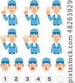 一套上半身表情和身穿藍色工作服的男人用手指計數數字 48263929