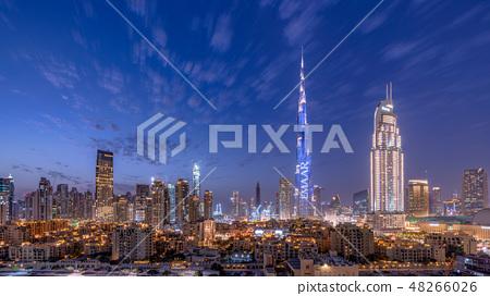 Burj Khalifa和迪拜都市風景·夜視圖 48266026
