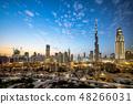 부르 즈 할리 파와 두바이의 도시 풍경 야경 48266031