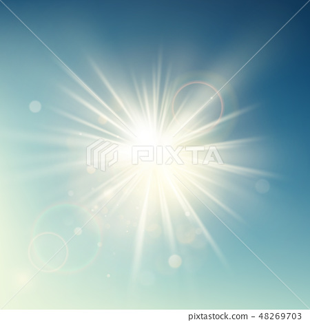 Summer template warm spring sun rays burst with lens flare. EPS 10 48269703