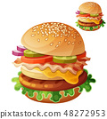 Hamburger. Food vector icon isolated on white background 48272953