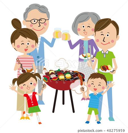 팝 3 세대 가족 바비큐 48275959