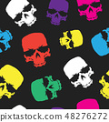 Skulls seamless pattern background, color skull grunge design for textiles, wrapping paper 48276272
